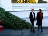 WASHINGTON D.C., Nov. 21, 2017 - U.S. First Lady Melania Trump and her son Barron Trump receive the official White House Christmas Tree at the North Portico of the White House in Washington D.C. Nov. ...