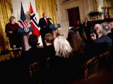 WASHINGTON, Jan. 10, 2018 - U.S. President Donald Trump (R, Rear) and Norwegian Prime Minister Erna Solberg (L, Rear) attend a joint press conference at the White House in Washington D.C., the United ...