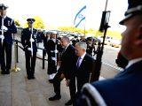 WASHINGTON, Oct. 19, 2017 - U.S. Defense Secretary Jim Mattis (C-R) welcomes Israeli Defense Minister Avigdor Lieberman (C-L) prior to their meeting at the Pentagon in Washington D.C., the United ...