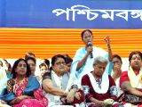 West Bengal Chief Minister and Trinamool Congress (TMC) supremo Mamata Banerjee addresses during a programme organised by Trinamool Congress on International Women's Day in Kolkata, on March ...
