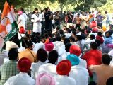 Youth Congress workers stage a demonstration against Punjab government in Chandigarh on Oct 26, 2016.