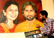 Painting of actor Shahid Kapoor and Mira Rajput