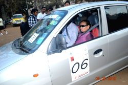 A blind navigator in the sixth Blind Man's Car Rally.