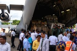 A C-17 Globemaster aircraft of the Indian Air Force delivered around 55 tonnes of relief material for Rohingya Muslim refugees, in Chittagong, Bangladesh on Sept 14, 2017. The relief ...