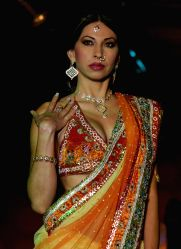 A model showcasing H G Jewelers gold jewelry collection made with enlightened swarovski elements at a fashion show, in New Delhi on Sunday.