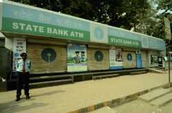 A SBI ATM kiosks closed after Prime Minister Narendra Modi announced demonetisation of Rs 1000 and Rs 500 notes making these notes invalid, in Patna on Nov. 9, 2016.
