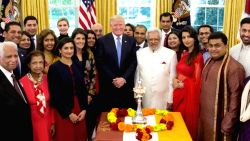 A screen grab from a video shared by US President Donald Trump on Facebook where he is seen celebrating Diwali in the Oval Office of White House on Oct 17, 2017.