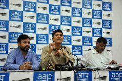 AAP leader Saurabh Bharadwaj addresses a press conference in New Delhi on Oct 18, 2017.