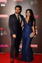 Actor Aftab Shivdasani and his girlfriend Nin Dusanj during the 20th Annual Life OK Screen Awards in Mumbai, on January 14, 2014.