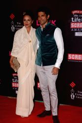 Actor Farhan Akhtar & Aduna Akhtar during the 20th Annual Life OK Screen Awards in Mumbai, on January 14, 2014.