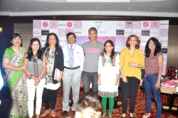 Actor Milind Soman during a press conference to announce the launch of SBI Delhi Pinkathon 2015, a women`s marathon aimed at spreading awareness about breast cancer, in New Delhi on July ...