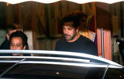 Actor Salman Khan during Diwali Party hosted by Sanjay Dutt and Maanyata at their residence in Mumbai on Oct 18, 2017.