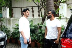 Actor Suniel Shetty and his son Aahan Shetty at film producer Sajid Nadiadwala's residence in Mumbai.