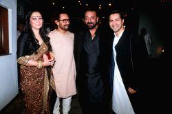 Actors Aamir Khan, Sanjay Dutt, Varun Dhawan along with Sanjay Dutt's wife Manyata Dutt during a Diwali party hosted by Aamir in Mumbai on Oct 19. 2017