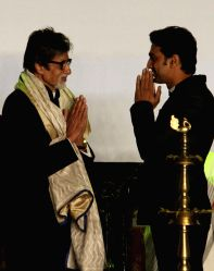 Actors Amitabh Bachchan and Dev during inauguration of 19th Kolkata International Film Festival in Kolkata on Nov.10, 2013.