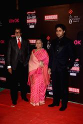 Actors Amitabh Bachchan, Jaya Bachchan & Abhishek Bachchan during the 20th Annual Life OK Screen Awards in Mumbai, on January 14, 2014.