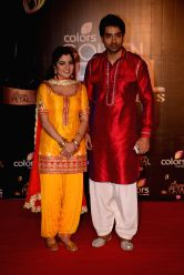 Actors Neha Bagga and Gaurav Chaudhary during COLORS Golden Petal Awards 2013 in Mumbai on Dec.14, 2013.