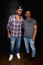 Actors Ranbir Kapoor and Aamir Khan during the special screening of upcoming film