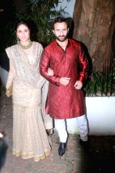 Actors Saif Ali Khan and Kareena Kapoor attends a Diwali party hosted by actor Aamir Khan in Mumbai on Oct 19, 2017.