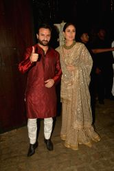 Actors Saif Ali Khan and Kareena Kapoor during a Diwali party hosted by actor Anil Kapoor in Mumbai, on Oct 19, 2017.