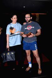Actors Saif Ali Khan and Kareena Kapoor Khan during the screening of upcoming film