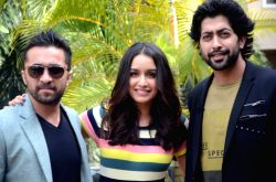 Actors Siddhanth Kapoor, Shraddha Kapoor and Ankur Bhatia during the promotion of their upcoming film
