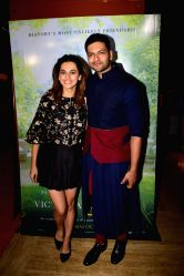 Actors Taapsee Pannu and Ali Fazal during the special screening of film