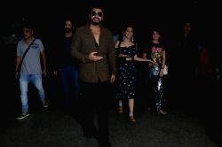 Actors Varun Dhawan,Arjun Kapoor,Jacqueline Fernandez and Taapsee Pannu spotted at Chhatrapati Shivaji Maharaj International airport in Mumbai on Sept 22, 2017.
