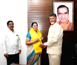 Actrees Jayasudha joins TDP in the presence of Andhra Pradesh Chief Minister N. Chandrababu Naidu in Hyderabad, on Jan 16, 2016.