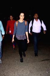 Actress Shraddha Kapoor seen at Chhatrapati Shivaji Maharaj International airport in Mumbai.