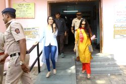 Actress Shraddha Kapoor with her mother Shivangi Kolhapure arrives to cast his vote for the Brihanmumbai Municipal Corporation (BMC) election  in Mumbai on Feb 21, 2017.