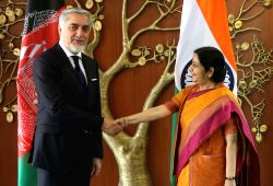 Afghan Chief Executive Officer (CEO) Abdullah Abdullah calls on External Affairs Minister Sushma Swaraj in New Delhi on Sept 27, 2017.
