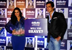 Ahmedabad:  Neha Dhupia and Sonu Sood during a promotional programme