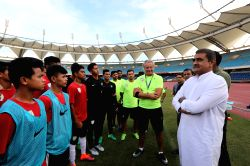 All India Football Federation President Praful Patel and General Secretary Kushal Das meet the Indian U-17 World Cup Squad on the sidelines of a training session at the Jawaharlal Nehru ...