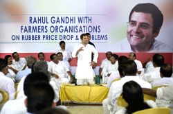 Aluva: Congress vice president Rahul Gandhi during a programme organised by Rubber Growers' Organisation at Aluva in Ernakulam district of Kerala  on May 27, 2015.