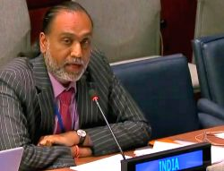 Amandeep Singh Gill, India's Permanent Representative to the Conference on Disarmament, speaks at a meeting of the General Assembly committee on disarmament the United Nations in New York on ...