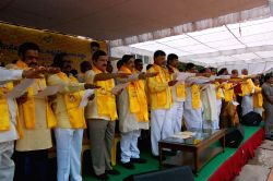 Andhra Pradesh Chief Minister and TDP chief N. Chandrababu Naidu during a party programme in Hyderabad on Oct 4, 2015.