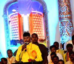 Andhra Pradesh Chief Minister and Telugu Desam Party leader N. Chandrababu Naidu during the concluding day of party's 'Mahanadu' -mega-convention- in Tirupati on May 29, 2016.