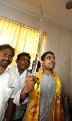 Andhra Pradesh Chief Minister N. Chandrababu Naidu's son, N. Nara Lokesh takes charge as TDP coordinator in Hyderabad on June 19, 2014.