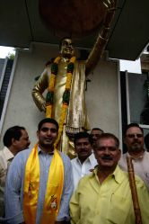 Andhra Pradesh Chief Minister N. Chandrababu Naidu's son, N. Nara Lokesh takes charge as TDP coordinator in Hyderabad on June 19, 2014.