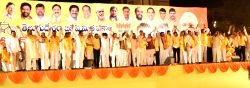 Andhra Pradesh Chief Minister N. Chandrababu Naidu and Union Minister of State for Labour and Employment (Independent Charge) Bandaru Dattatreya during the launch of TDP-BJP alliance`s ...