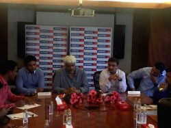Astrologer Bhupesh Sharma, filmmaker Vikram Bhatt and Anupam Vasudev, CMO, Aircel Cellular during launch of an exclusive audio service by Aircel Cellular that will provide variety of stories ...