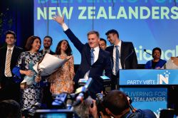 AUCKLAND, Sept. 24, 2017 - New Zealand's Prime Minister and National Party leader Bill English (C) gives a speech to supporters in Auckland, New Zealand, Sept. 23, 2017. New Zealand's parliamentary ...