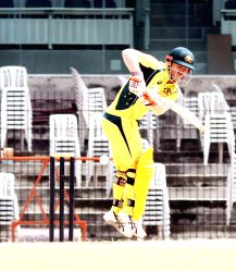 Australian cricketer David Warner in action during a warm-up match between India Board President's XI and Australia at MA Chidambaram Stadium in Chennai on Sept 12, 2017.