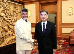 BEIJING, April 14, 2015 (Xinhua) -- Chinese Vice Premier Wang Yang  (R) meets with Nara Chandrababu Naidu, chief minister of Andhra Pradesh and President of Telugu Desam Party (TDP), in Beijing, ...