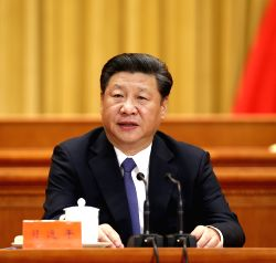BEIJING, May 30, 2016 - Chinese President Xi Jinping addresses an event conflating the national conference on science and technology, the biennial conference of the country's two top think tanks, the ...