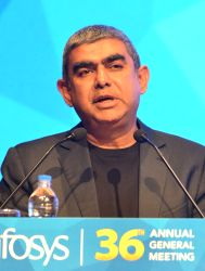 :Bengaluru: Infosys' CEO and Managing Director Vishal Sikka addresses during Infosys' Annual General Meeting (AGM) in Bengaluru on June 24, 2017. (Photo: IANS).