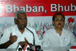 CPI leader D Raja addresses a press conference in Bhubaneswar, on June 11, 2015. (Photo : IANS)