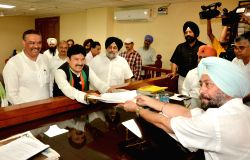 BJP candidate for the Gurdaspur Lok Sabha bypoll Swaran Singh Salaria files his nomination papers to contest Gurdaspur Lok Sabha Bye Elections at Gurdaspur on Sept 22, 2017. Also seen ...