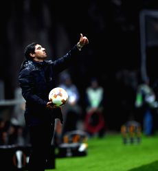 BRAGA, Oct. 20, 2017 - Coach of Braga, Abel Ferreira reacts during the Europa League soccer match between SC Braga and PFC Ludogorets 1945 at the Braga Municipal Stadium in Braga, Portugal, on Oct. ...